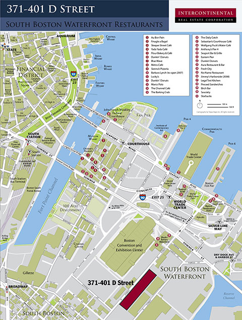 Locator Map For Restaurants In The South Boston Waterfront District